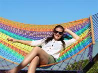 Double hammock in Nylon Net with spreader bars