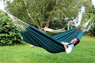 Fabric hammock with green-blue stripes
