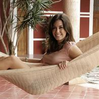 Mexican coated cotton hammock in single colored beige