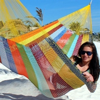 Coated net hammock from Mexico in color mix C8, XXXX-L
