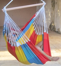 Hammock chair in light classic-checked fabric