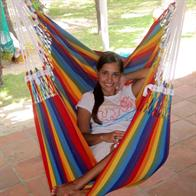 Hammock chair in colorful fabric. 100% new cotton.