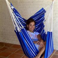 Hammock chair in blue nuance fabric
