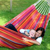 Double hammock in 100% cotton for kids play and fun time. Relax Double Hammock