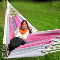 Formosa PRO hammock. hammock in bright white and pink striped shades.