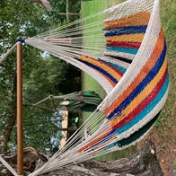 Multicolored hammock chair in net. No. 43MX-ANA