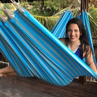 Formosa PRO Outdoor hammock. Outdoor fabric hammock in turquoise and gray stripes.