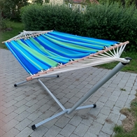Hammock stand with Asur Blue hammock with 118 cm spreader bars