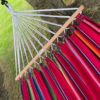 Hammock with 80 cm wooden spreader bars in colorful fabrics. No. T556