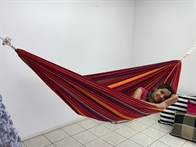 Strong hammock 1 person. Nice colorful look. Ok for children's play