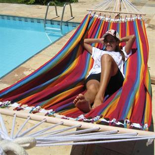 Hammock in striped fabric with spreader bars. No. T160.0