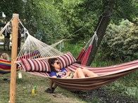 Hammock in 100% new cotton with 160 cm spreader bars