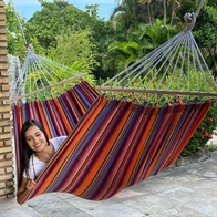 Hammock in fabric with 80 cm spreader bars in Mexican design