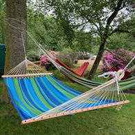Asur blue hammock with 120 cm quality wooden sticks