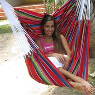 Mexican red hammock chair in fabric