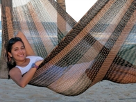 Mexican coated cotton hammock for outside use. No. C4