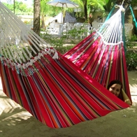Nice dobbel hammock in colorful fabric with hand-woven decorative details