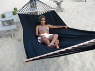 Black Fabric Hammock with 118 cm solid wood sticks