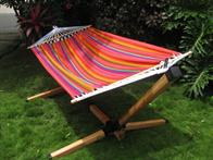 Hammock on Eucalyptus Stand - A Complete Set with a beautiful colorful hammock