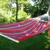 Hammock with 120 cm wide wooden sticks with colorful fabric