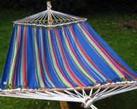 Mexican blue fabric hammock with wide spreading wooden bar of 140 cm. INKA LOOK. No. V543