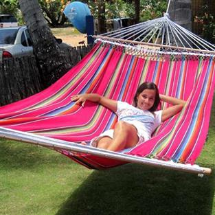 Mexico Pink hammock in fabric with width wood sticks of 140 cm