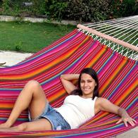 Throughout strong hammock comes in the most beautiful colors with 160 cm wooden spreader bars. No. VTQ564.