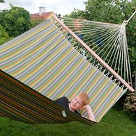 PRO outdoor hammock with 160cm wide wooden spreader bars. Colorful striped fabric for outdoor use. No. VTQ706