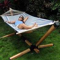Complete Set - Blue Striped Hammock on Stand