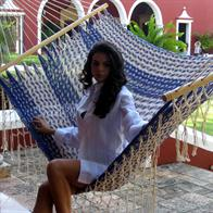 Hammock in natural white and blue cotton net with details and handwork